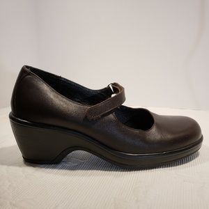 Dansko Brown Leather Mary Jane's Clogs Size 10